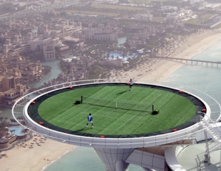 The Disk Atop Burj Al Arab Hotel Is A 211m High Helipad On February 22 2005 Andre Agi And Roger Federer Played Match